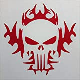 "Search : Skull Fire Flames Lethal Threat Vinyl Decal Sticker|RED|Cars Trucks Vans SUV Laptops Wall Art|5.5"" X 5.5""