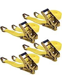 """Keeper 04629 25' x 2"""" Ratchet Tie-Down with J-Hooks, 4 Pack"""