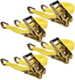 "Keeper 04629 25' x 2"" Ratchet Tie-Down with J-Hooks, 4 Pack"