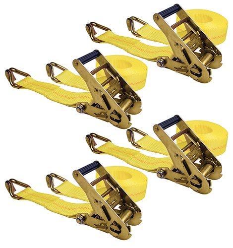 Keeper 04629 25' x 2'' Ratchet Tie-Down with J-Hooks, 4 Pack by Keeper