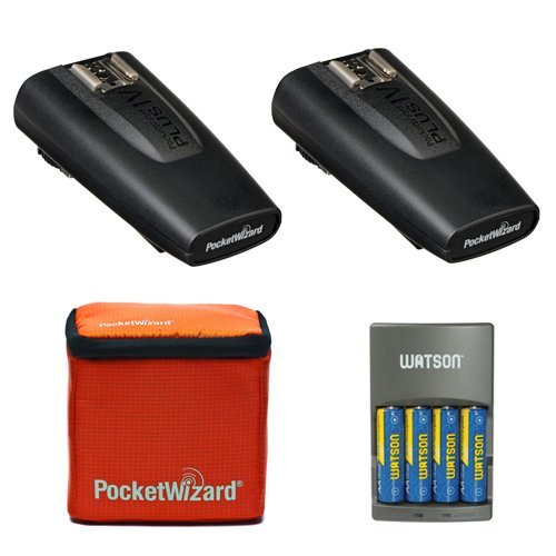 PocketWizard Plus IV Transceiver 2 Pack With Case and 4-Hour Rapid Charger with 4 AA NiMH Rechargeable Batteries Bundle by PocketWizard
