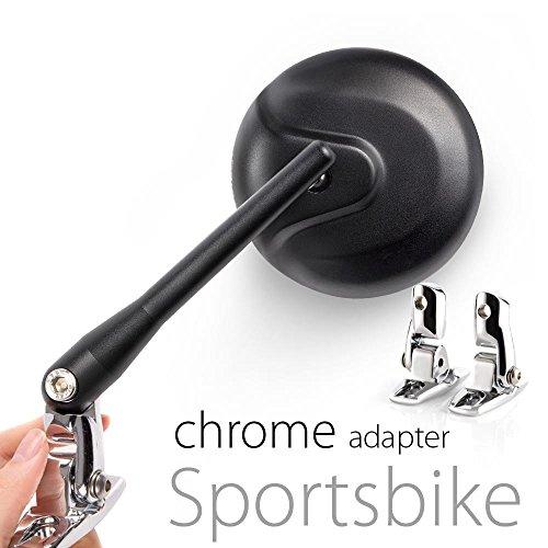 KiWAV Magazi Round black retro style mirrors for sport bike with chrome adapter by KiWAV