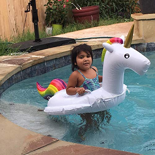 DMAR Unicorn Pool Floats for Kids Inflatable Rainbow Pool Float Toddler Water Toys Pool Raft Seat Boat