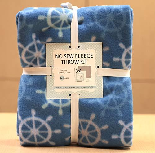 No Sew Fleece Blankets - Boat Wheels No-Sew Throw Fleece Fabric Kit (50x60)