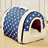 Velimax 2-in-1 Pet House Non-slip Windproof Bottom Cats Pet Tent Pet Cover [2-in-13 pet house Handbag Shape for Dogs & Cats Pet Tent Pet Cover with Removable Cushion Washable Waterproof Bottom] For Sale