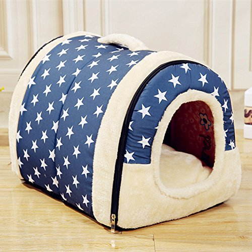 Velimax 2-in-1 Pet House Non-slip Windproof Bottom Cats Pet Tent Pet Cover [2-in-7 pet house Handbag Shape for Dogs & Cats Pet Tent Pet Cover with Removable Cushion Washable Waterproof - Hut 2 4 3