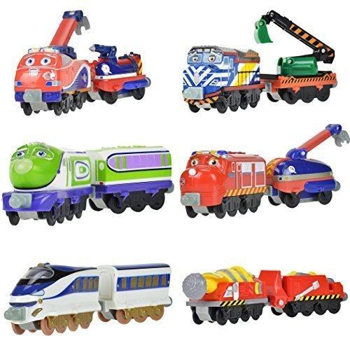 Chuggington StackTrack Toy Train Set 6pk Chug Patroller Jackman, Tunnel Boring Machine, Chug-A-Sonic Hanzo, Chug-A-Sonic Koko Chug Patroller Willso