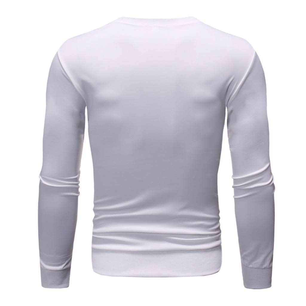 SKYLULU✿✿Mens Fashion Long-Sleeved Round Neck Solid Color Printing Sweater Tops Blouse Solid Color Shirt Tops