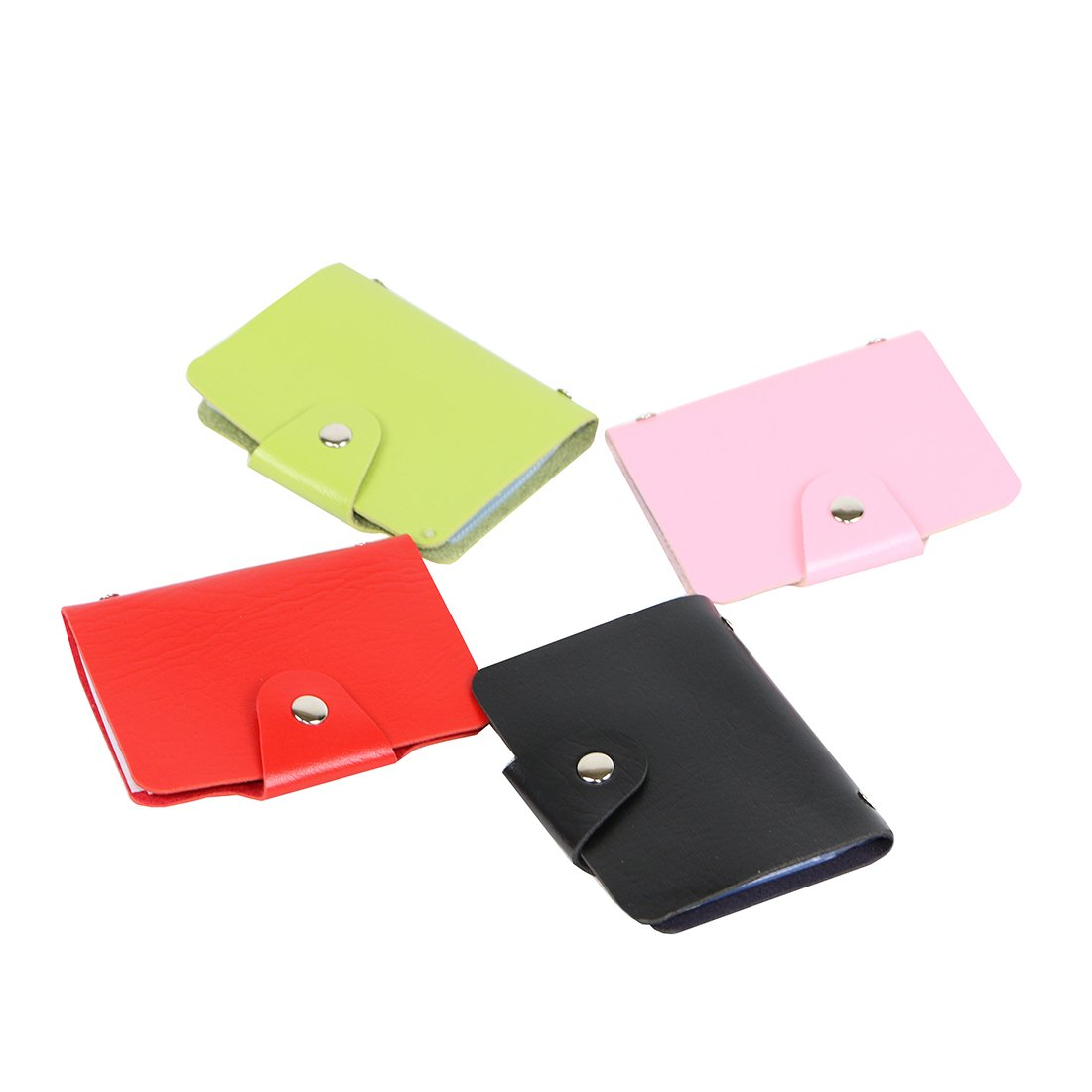 Unisex Small Leather Credit Card Holder Protector Wallet Bagwith - 12 Card Slots (pink)