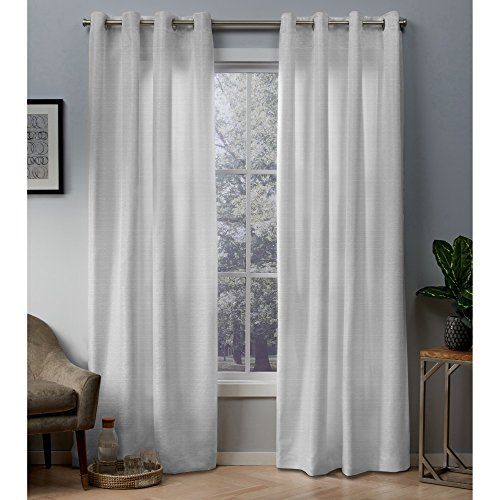Exclusive Home Curtains Whitby Metallic Slub Yarn Textured Silk Look Window Curtain Panel Pair with Grommet Top, 54x96, Winter White, 2 Piece