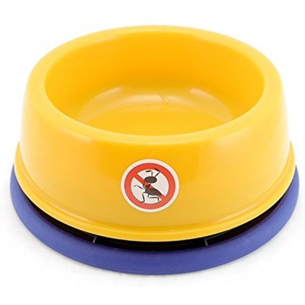 DYL NO-ANT PET Bowl,for Puppy Smaller Dog or Cat,(S,Yellow) Size 2.95''(H) x5.12(Dia)