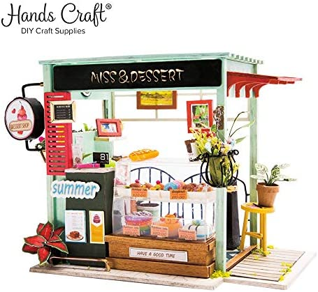 Hands Craft DGM06 (Dessert Shop) DIY 3D Wooden Miniature Dollhouse Build Your Own Crafting KitReal LED Lights Educational STEM Hobby Project for Kids (14) and Adults / Hands Craft DGM06 (Dessert Shop) DIY 3D Wooden Miniature Dollho...