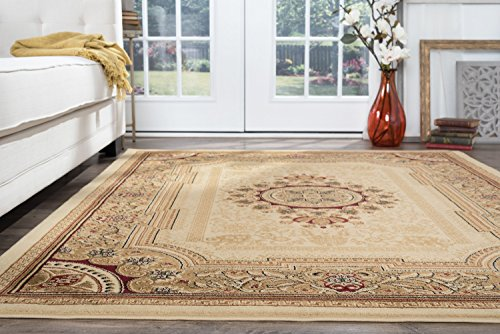 (Jayden Traditional Oriental Ivory Rectangle Area Rug, 5' x 7')