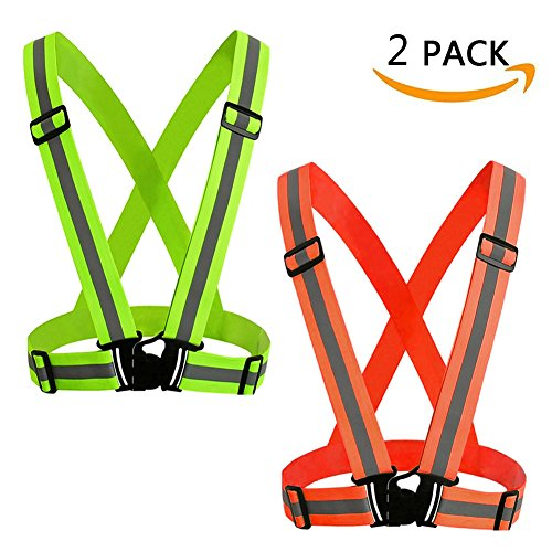 Easycity Reflective Vest with High Visibility Bands (2-pack), Elastic and Fully Adjustable Reflective Gear for Running, Walking, Jogging, Cycling, Riding, (Reflective Elastic Tape)