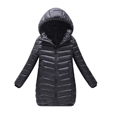 a0dfc111e Amazon.com  Fiaya Kids Children Winter Hooded Puffer Long Down Coats ...