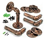 Industrial Iron Pipe Shelving Brackets, Pipe Shelf Brackets, Pipe Shelves - Elbow (4, Red Bronze)