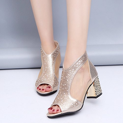Hollow Sandals Fashion T golden Boots Womens JULY Ladies Net Shoes Fish Mouth Bling High Sparkly Yarn Platform Out Heel tYzYq