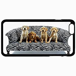 Customized Cellphone Case Back Cover For iPhone 6 Plus, Protective Hardshell Case Personalized Dogs On Sofa Black