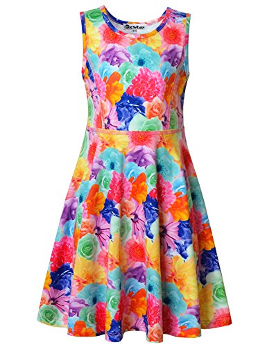 Jxstar Big Girls Floral Print Dress For Skater Flowers Pattern Sleeveless Dress colorful Flowers 150 ()