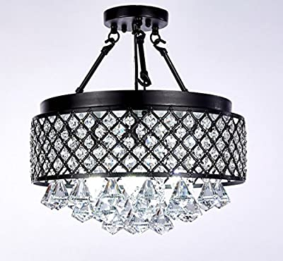 New Galaxy Lighting 4-light Semi-flush Mount Crystal Chandelier with Antique Black Iron Shade