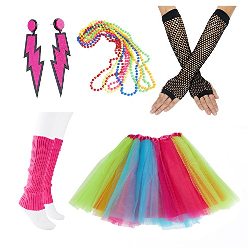 The 80s Costumes (80s Fancy Outfit Costume Accessories Set,Adult Tutu Skirt,Leg Warmers,Fishnet Gloves,Neon Earrings and Neon Beads)