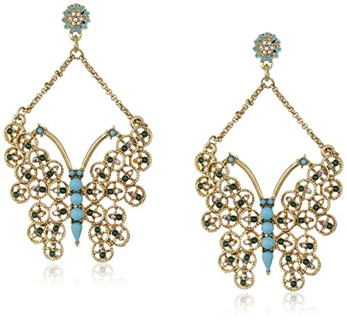 "Boho-Chic Vacation & Fall Looks - Standard & Plus Size Styless - Betsey Johnson ""Boho Betsey"" Butterfly Drop Earrings"