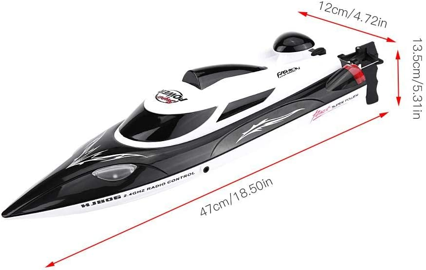 Télécommande RC Boat, 2.4GHz RC Racing Boat 4 Channel Mini Boat Racing Speedboat Model Outdoor Toys for Kids and Adults(rouge) Noir