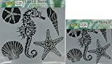 The Crafter's Workshop Set of 2 Stencils - Sea Creatures 12'' x 12'' Large and 6'' x 6'' Mini - Includes 1 each TCW496 and TCW496s - Bundle 2 Items