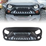Automotive : MAIKER Jeep Wrangler JK JKU Front Gladiator Vader Grille with Monster Teeth Steel Mesh for 2007-2018 Jeep Rubicon Sahara Sport