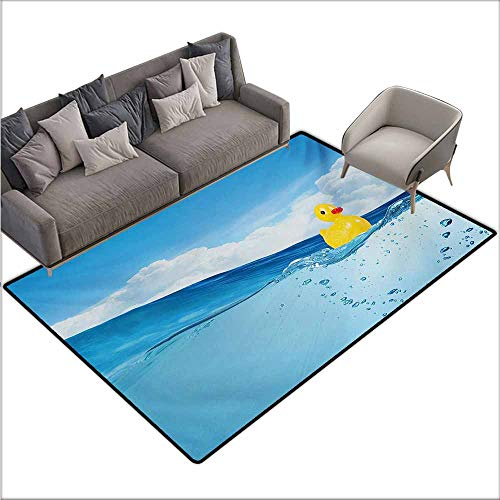 (Room Bedroom Floor Rug Rubber Duck Little Duckling Toy Swimming in Pond Pool Sea Sunny Day Floating on Water Durable W78 xL106 Blue and Yellow)