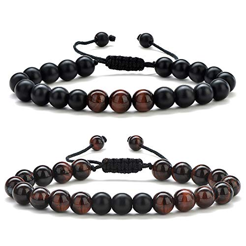 (Gifts for Men Bead Bracelet Jewelry - Men Red Tiger Eye Beaded Bracelet Gemstone Natural Stone 8mm Mens Bead Bracelet Adjustable Anxiety Stress Relief Men's Bracelets Jewelry Gifts for Men)