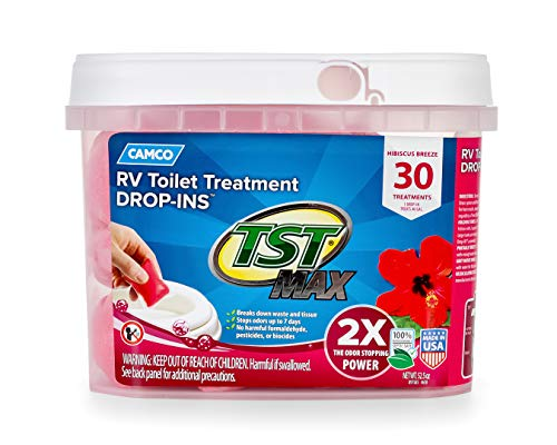 Camco 41604 30 Pack Strength Tst Ultra Concentrated Hibiscus Breeze Scent Rv Toilet Max Treatment Drop Ins Formaldehyde Free Breaks Down Waste And Tissue Septic Tank Safe