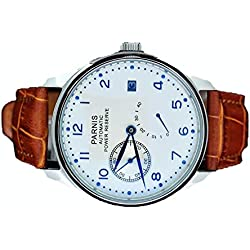 Parnis 43mm White Dial Power Reserve Seagull 2530 Automatic Mens Watch 1270