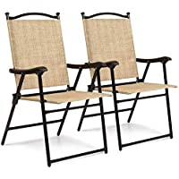 2 Pack Faux Bamboo Folding Sling Back Chairs for Backyard, Picnics, Barbeques, Beach (Beige)