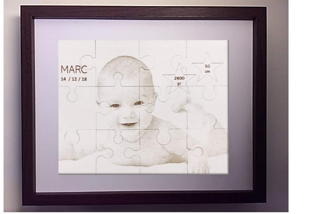 Portaretratos tipo puzzle con fotografía grabada y corte laser. Incluye marco para su colocación. Varias medidas.: Amazon.es: Handmade