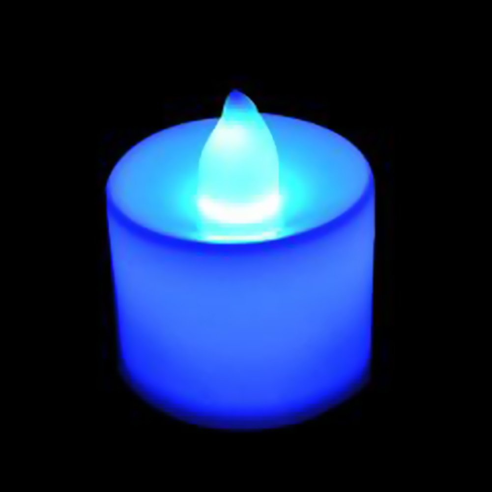 Baost 1Pc Flameless Flickering LED Tea Light Candles Battery Operated Tealight Electric Flameless Candles Night Light Candle for Party, Wedding, Birthday, Gifts and Home Decoration Blue
