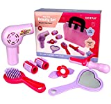 Click N' Play CNP01008 Set of 8 Kids Pretend Play Beauty Salon Fashion Play Set with Hairdryer, Curling Iron, Mirror & Hair Styling Accessories with A Beauty Tote Bag