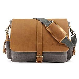 Plambag Large PU Canvas Messenger Bag 16.5 Inch Laptop Shoulder Bag Gray