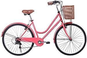 Gama Bikes City Basic 26 – Women's Cruiser Bike - Step-Through Comfort Frame, 6 Speed Shimano -  Hybrid Urban Commuter Road Bicycle - Great for Beach Cruising, Exercising and All Around Fun – Coral