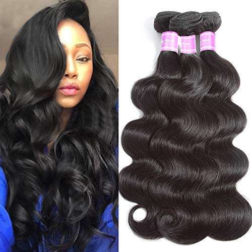 Flady 10A Human Hair Brazilian Body Wave 3 Bundles Unprocessed Virgin Brazilian Hair Weave Human Hair Extensions Black Color (18 20 22inch)