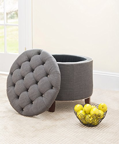 Safavieh Amelia Tufted Storage Ottoman, - Gray Charcoal Seat