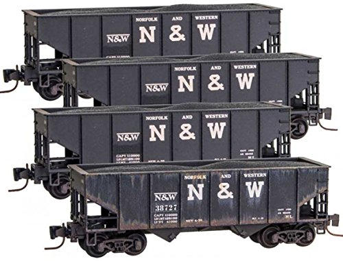 Micro-Trains MTL Z-Scale Two-Bay Hoppers Norfolk Western/NW - Weathered (Western 4 Bay Hopper)