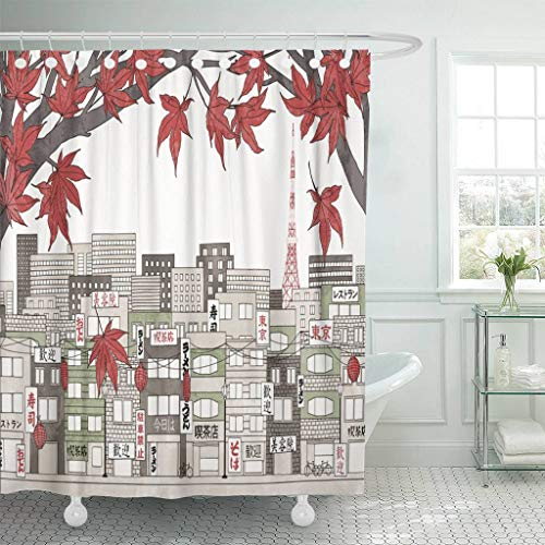 Emvency Fabric Shower Curtain with Hooks Tokyo Japan in Autumn Colorful of The City with Red Maple Branches and Some Empty Space Extra Long 72