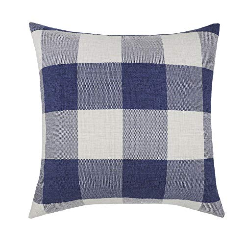 - 4TH Emotion 18x18 Dark Blue White Buffalo Check Plaids Throw Pillow Case Cushion Cover Holiday Decor Cotton Linen for Sofa