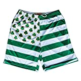 Clovers and Stripes Submilmated Lacrosse Shorts, Kelly, Medium