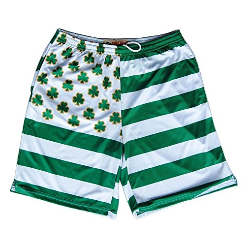 Clover Stripe (Clovers and Stripes Submilmated Lacrosse Shorts, Kelly, Small)