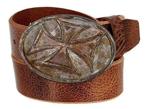 (Hagora Men Cracked Full Grain Leather Rusty Templar Cross Buckle 1.5