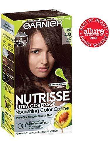 Garnier Nutrisse Ultra Coverage Hair Color, Deep Dark Brown (Sweet Pecan) 400 (Packaging May Vary) (Best Gray Hair Coverage)