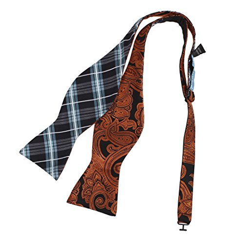 (Epoint EBAF0053 Black Cyan Dark Orange Dark Red Khaki Bow Ties Microfiber Classy For Urban Patterned Self-tied Double Sided Bow Tie)