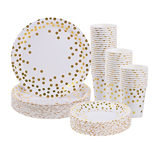 Gold Dot Disposable Paper Plates and Cups Set for 50 - Disposable Cups, Dinner Plates and Dessert Plates – Bridal Shower, Baby Shower, Wedding, Anniversary, New Year Birthday Party Supplies – 150pcs